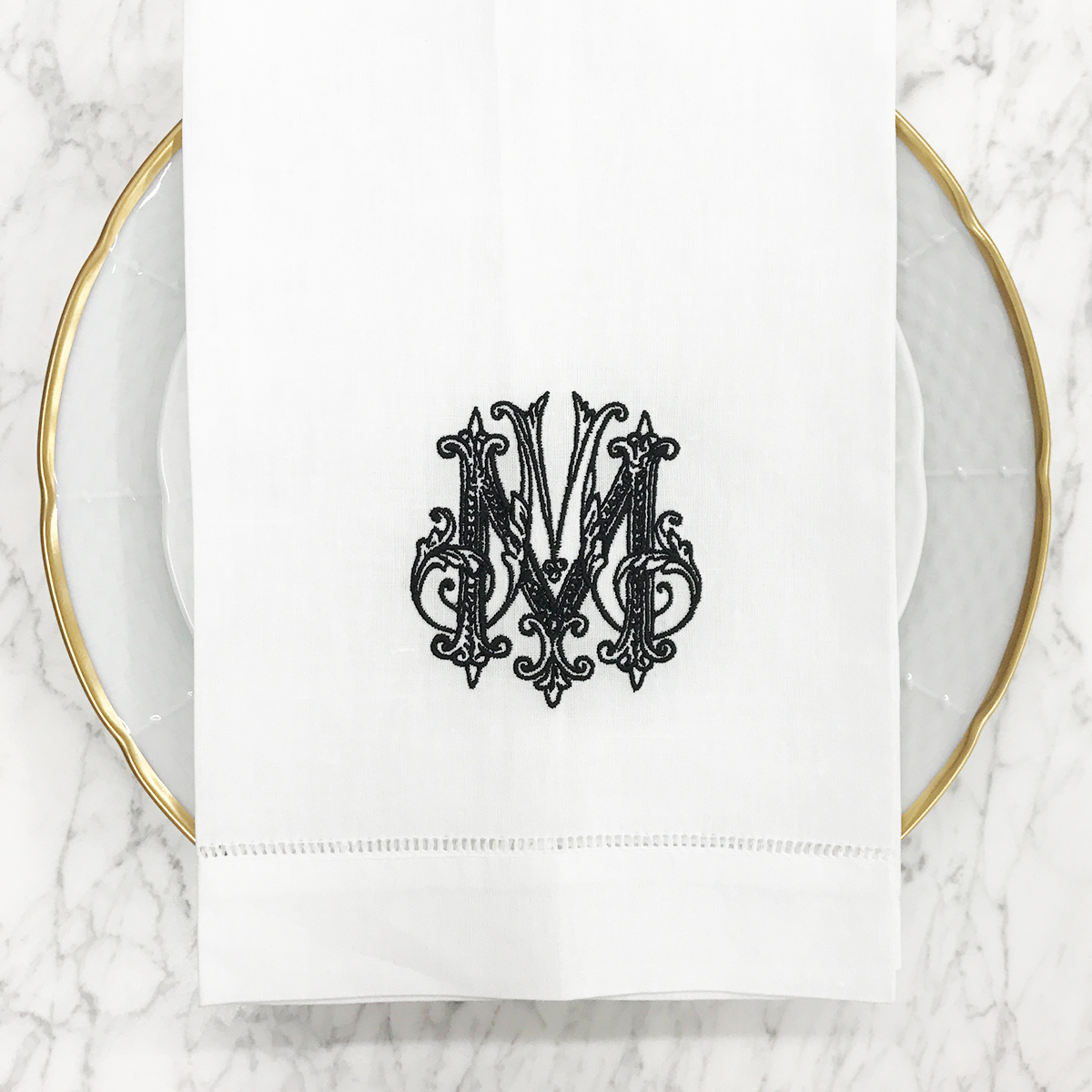 Dinnerware Tablescapes China Weddings Registry Ideas Monogrammed Unique Dishes Custom Tablesetting Sasha Nicholas St. Louis, Champagne Bucket Wedding Registry Gold New Years Eve Wedding Country Club NYE Winter Wedding Dinner Napkin
