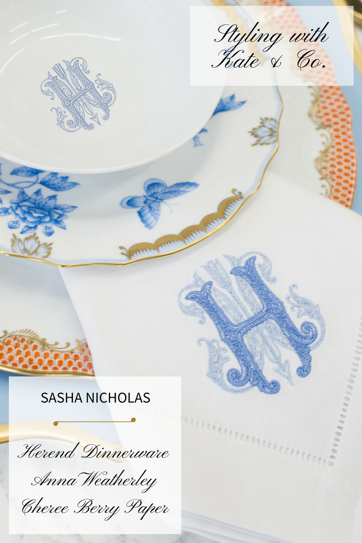 Dinnerware Tablescapes China Wedding Registry Ideas Monogrammed Unique Dishes Custom Tablesetting Sasha Nicholas Herend Anna Weatherley Cheree Berry Paper Kate and Company Orange Blue